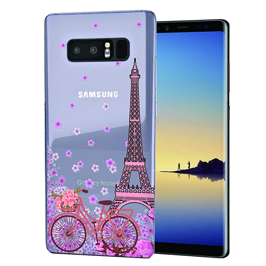 Cocomong Paris Eiffel Tower Cute Galaxy Note 8 Case, Floral Bike Slim Thin Silicone?Protective Cover Case for Samsung Galaxy Note 8 for Girls Womens
