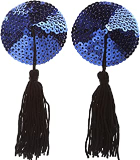 Ayliss Sequin Lingerie Tassel Breast Bra Stickers Nipple Covers-Blue