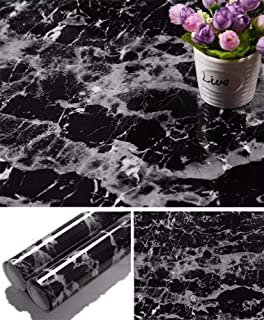 Yancorp Black Granite Wallpaper Marble Counter Top Film Vinyl Self Adhesive Peel-Stick Wallpaper (17.8