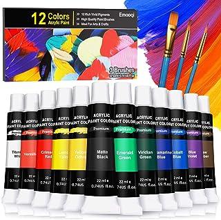 Emooqi Peinture Acrylique, Kit de Peinture Acrylique pour Artistes Comprenant 12 Couleursx 22 ML de Pigment Acrylique Vibr...