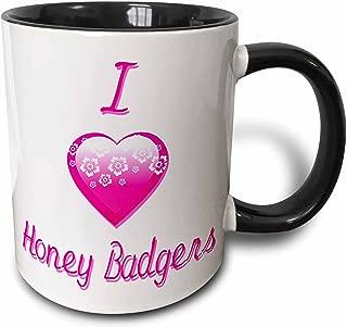3dRose 121594_4 Pretty Pink Flowery I Love Honey Badgers Two Tone Mug, 11 oz, Black/White