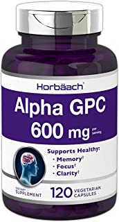 Alpha GPC 600mg | 120 Capsules | Vegetarian, Non-GMO & Gluten Free Choline Supplement | Supports Healthy Memory, Focus and...