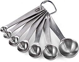 U-Taste 18/8 Stainless Steel Measuring Spoons Set of 7 Piece: 1/8 tsp, 1/4 tsp, 1/2 tsp, 3/4 tsp, 1 tsp, 1/2 tbsp & 1...