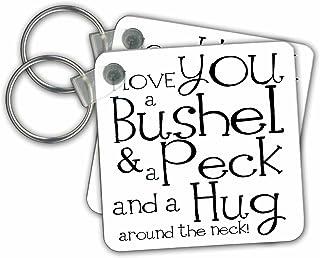 3dRose I Love You a Bushel and a Peck White and Black Key Chains, Set of 2 (kc_193477_1)