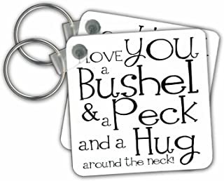3dRose I Love You a Bushel and a Peck White and Black Key Chains, Set of 2 (kc_193477_1)