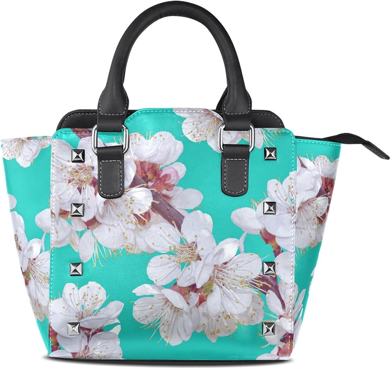 My Little Nest Women's Top Handle Satchel Handbag Flowers Blossoming Ladies PU Leather Shoulder Bag Crossbody Bag