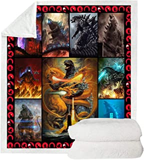 Soft 3D Printed Godzilla Blanket Microfiber Sherpa Throw Blanket for Bed and Couch Quilted Blankets for Kids and Adults Cozy Fluffy Fleece Blanket Bedding (Style2, 150cm x 200cm(59`` x 79``))