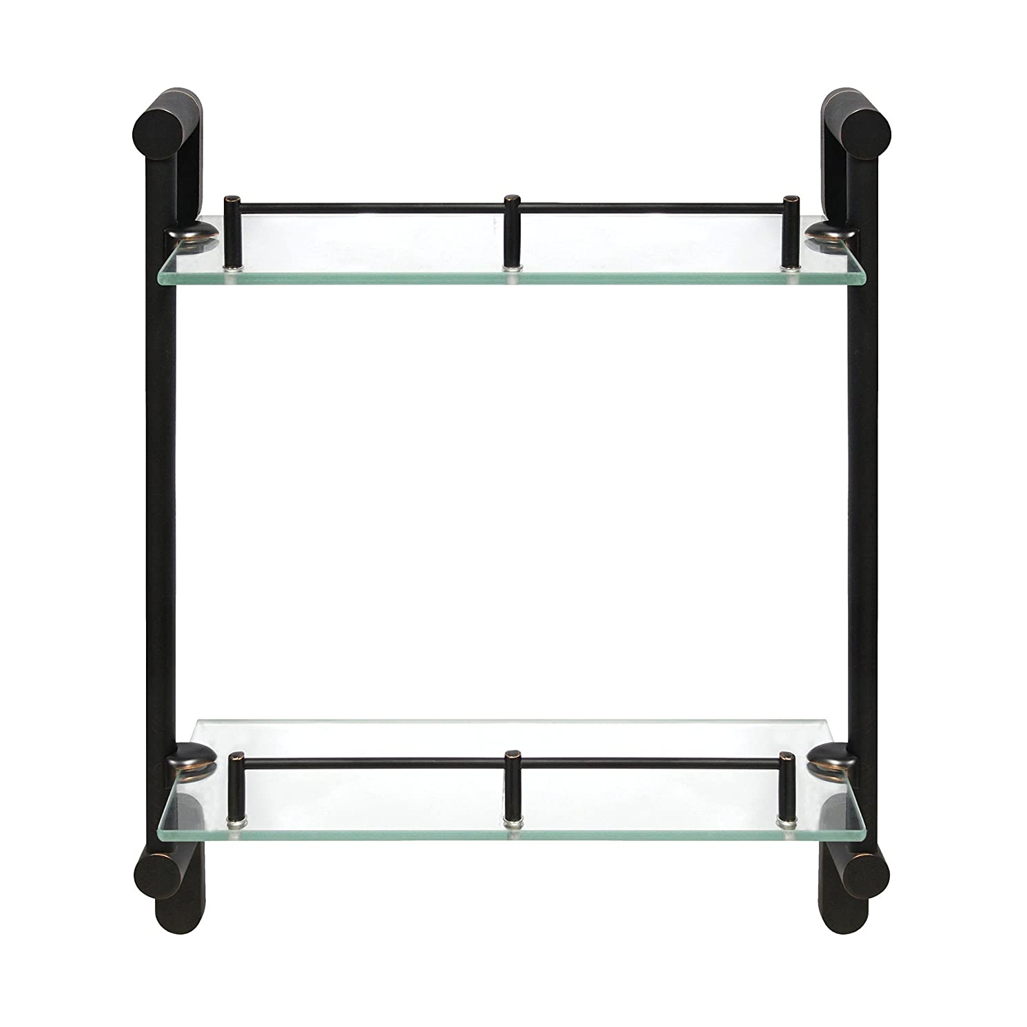 MODONA Double Wall Glass Shelf with Pre-installed Rail - RUBBED BRONZE - Oval Series - 5 Year Warrantee
