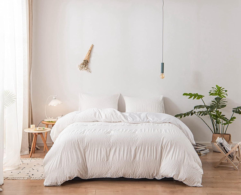 HGUT Duvet Cover Set Seersucker Max 63% Wholesale OFF Stripe 100% Luxury Super Mi Soft