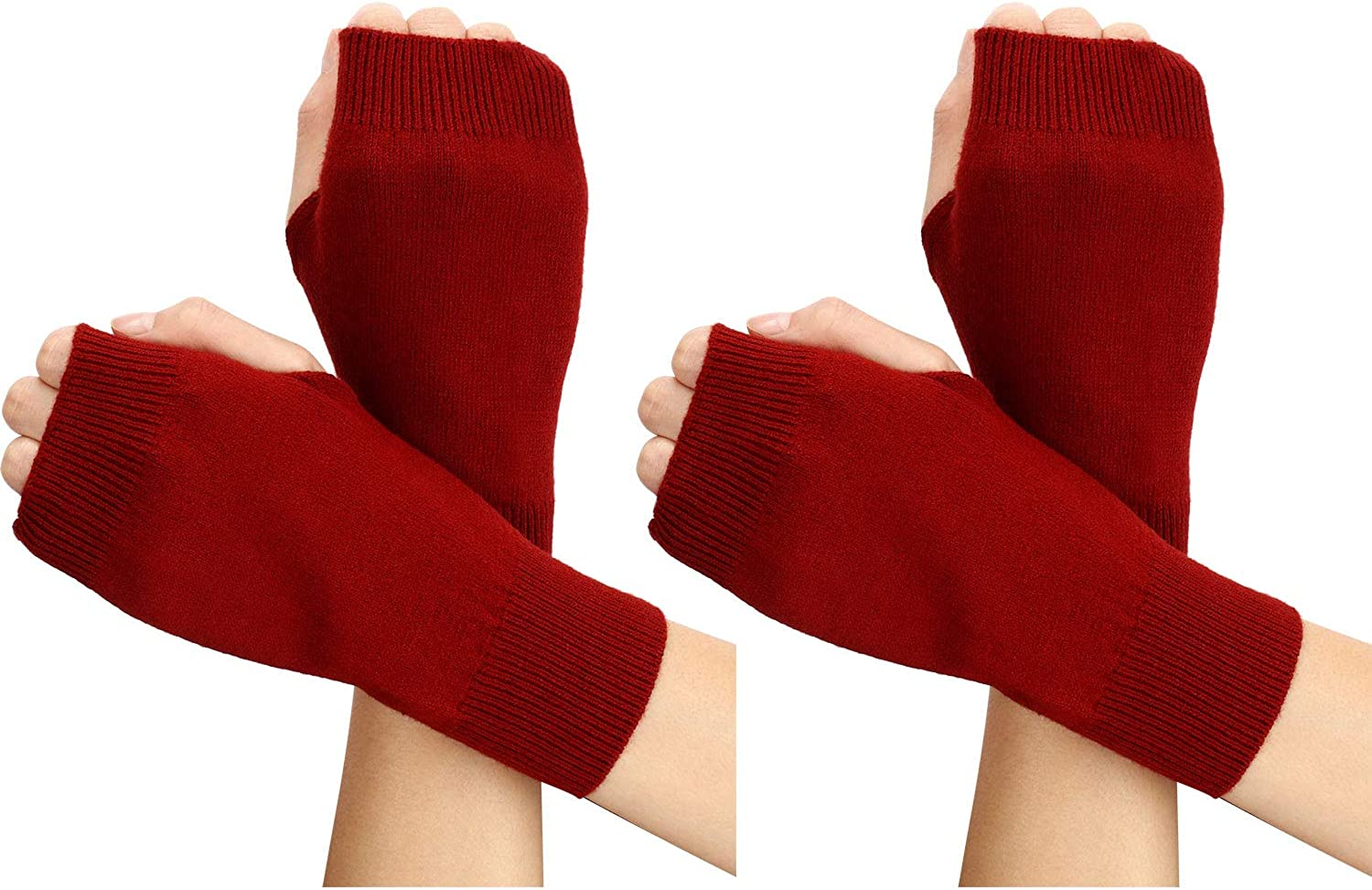 2 Pairs Cashmere Fingerless Gloves Half Thumb Hole Fingerless Knit Warm Mittens for Women