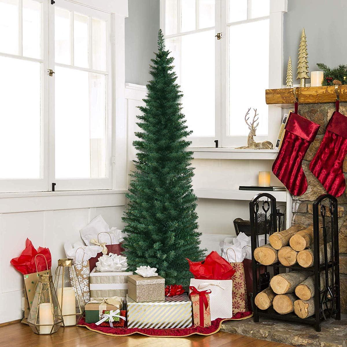 Goplus Artificial Pencil Max 41% OFF Christmas Tree Daily bargain sale M PVC Sturdy w Slim