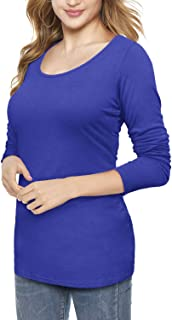 Womens Scoop Neck Short/Long Sleeve Tee Tops Cotton T-Shirts Blouses