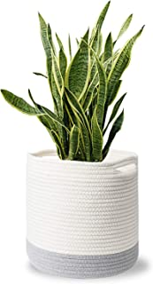MoonLa Woven Cotton Rope Plant Basket for 10