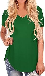 StyleDome Women V Neck Casual Blouse Shirts Short Sleeve Asymmetrical Hem Summer Loose Long Tee Tops