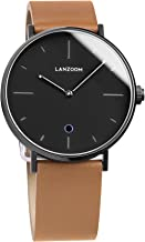 LANZOOM Light41-11-3L Crown Glass Anti-Lost Smart Watches iOS Android Smartphone Wristwatch (Black + Coffee)