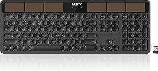 Arteck Solar Wireless Keyboard Full Size Solar Recharging Keyboard for Computer/Desktop/PC/Laptop/Surface/Smart TV and Windows 10/8 / 7 / Vista/XP Built in Rechargeable Battery