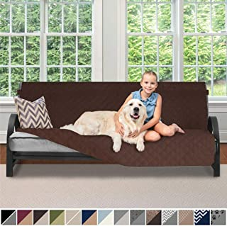 Sofa Shield Original Patent Pending Reversible Futon Slipcover, 2 Inch Strap Hook, Seat Width Up to 70 Inch Washable Furniture Protector, Futons Slip Cover Throw for Kids, Futon, Chocolate Chocolate