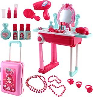 deAO Toys Be Star Beauty Vanity Dressing Table Convertible Suitcase Portable Role Play Set with Accessories