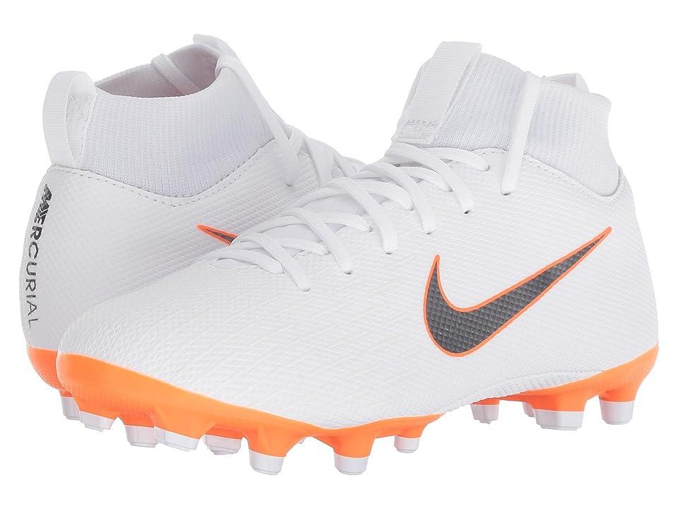 Nike Kids Superfly 6 Academy MG Soccer (Little Kid/Big Kid) (White/Metallic Cool Grey/Total Orange) Kids Shoes