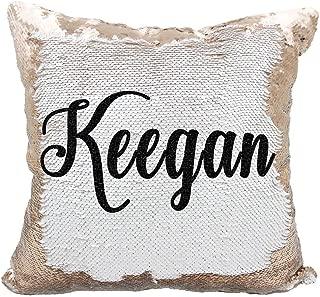 YUUNITY Personalized Mermaid Reversible Sequin Pillow, Custom Unicorn Sequin Pillow for Girls(White/Rose Gold)