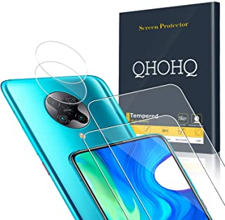 QHOHQ 2 Pack Screen Protector for Xiaomi Poco F2 Pro/Redmi K30 Pro with 2 Packs Camera Lens Protector, Tempered Glass Fil...