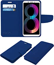 Acm Leather Flip Wallet Case Compatible with Oppo A83 (2018 Edition) Mobile Cover Blue