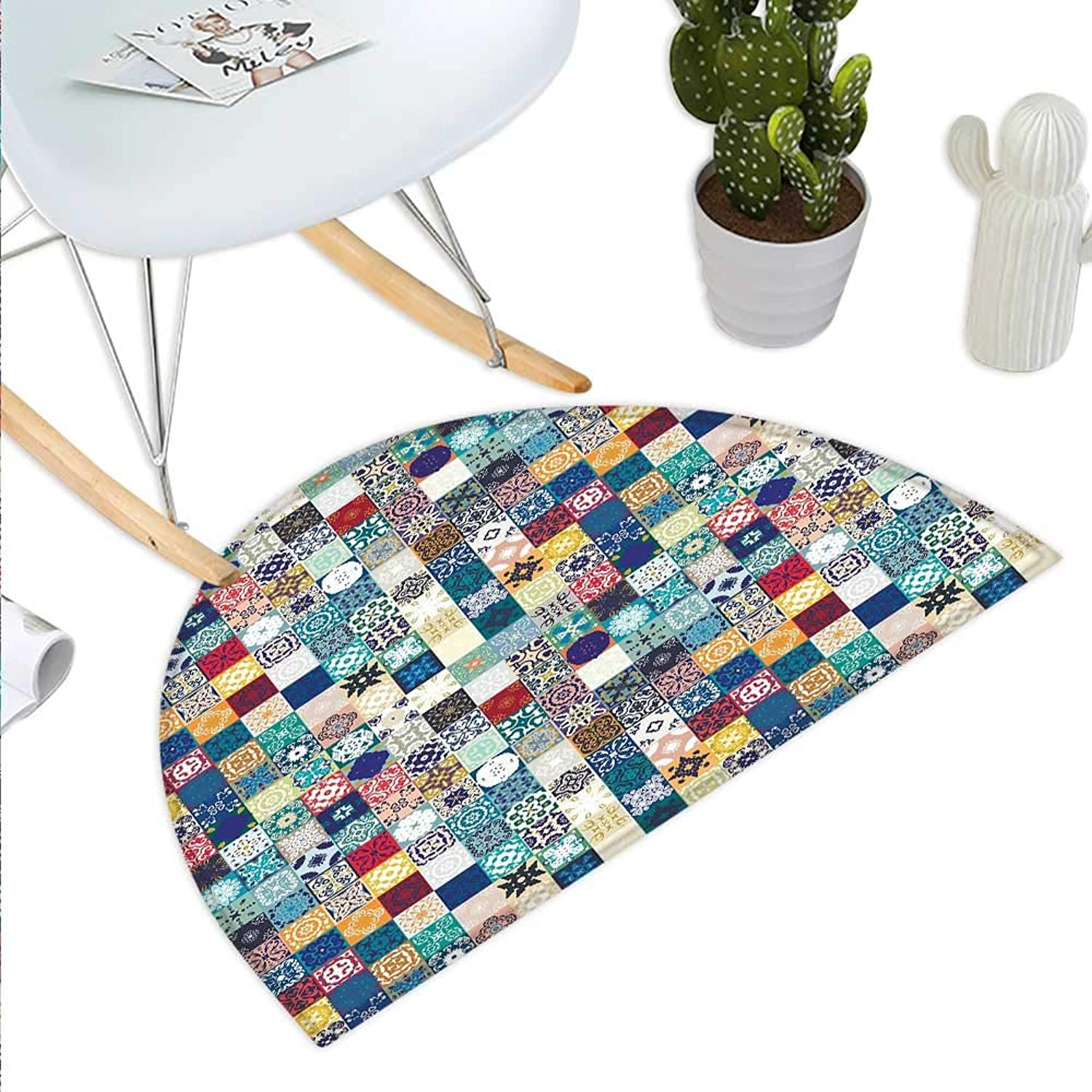 Mgoldccan Semicircle Doormat Oriental Eastern Pattern with Grid Style Patchwork Ornament Tiles Design Asian Halfmoon doormats H 43.3  xD 64.9  Multicolor