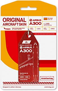 AVT033 AviationTag Airbus A300 Reg #EC-DLH (Iberia) Red Original Aircraft Skin Keychain/Luggage Tag/Etc with Lost & Found Feature