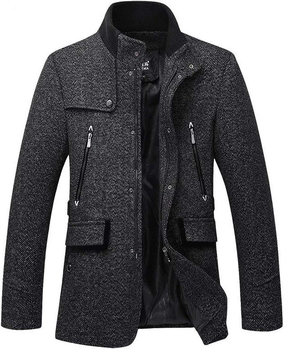 Men's Wool Coat Short Winter Warm Jacket Stand Collar Zip Woolen Blend Quilted Lined Overcoat