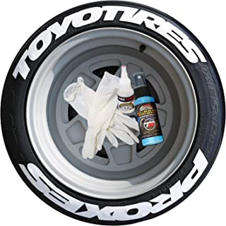 Toyo Tires Proxes Tire Stickers - Super Stretched Style - Permanent Tire Lettering Kit with Glue - Custom Sizing/Colors - (Pack of 4)