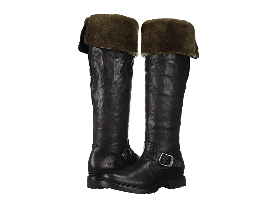 Frye Vanessa Over the Knee (Black Oiled Pull-Up/Shearling) Women