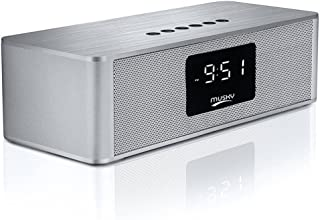 Dovital Portable Wireless Premium Stereo Speaker Bluetooth 4.2, Alarm Clock FM Radio LED Display, HD Sound Dual Channel 10W Drivers, Built-in-Mic, AUX Line, SD/TF Card Slot Phones,Tablet
