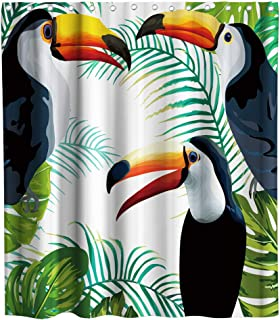 Tropical Plants Flower Bird Watercolor Toucan Palm Banana Leaves Floral Colorful Theme Fabric Shower Curtain Sets Kids Bathroom Decor with Hooks Waterproof Washable 70 x 70 inches Green Red and White