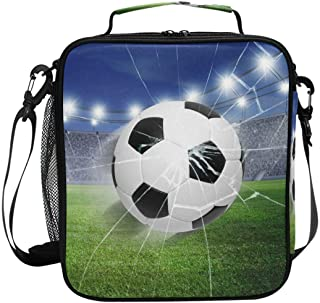 ZOEO Boys Soccer Lunch Box 3D Football World Cup Insulated Lunch Bag Prep Kids Cooler Blue Tote Freezable Shoulder Strap W...