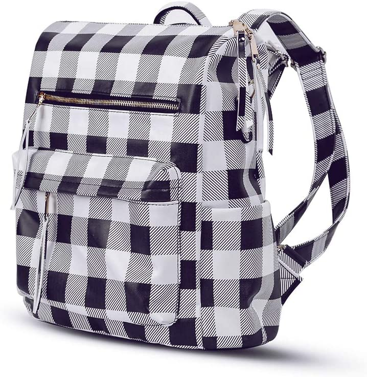 CRAZITAYA Womens Buffalo Plaid Check Backpack Purse Schoolbag Girls,Baby Nappy Diaper Bags for Mom Multi-Function Zip Leather Large Daypack(White Plaid)