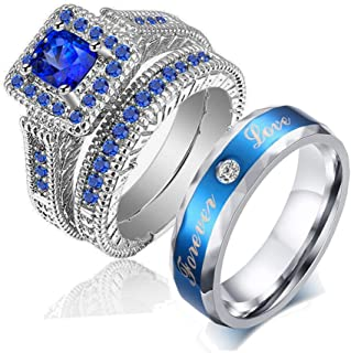 Couple Ring Bridal Set His Hers White Gold Plated Blue CZ Stainless Steel Wedding Ring Band