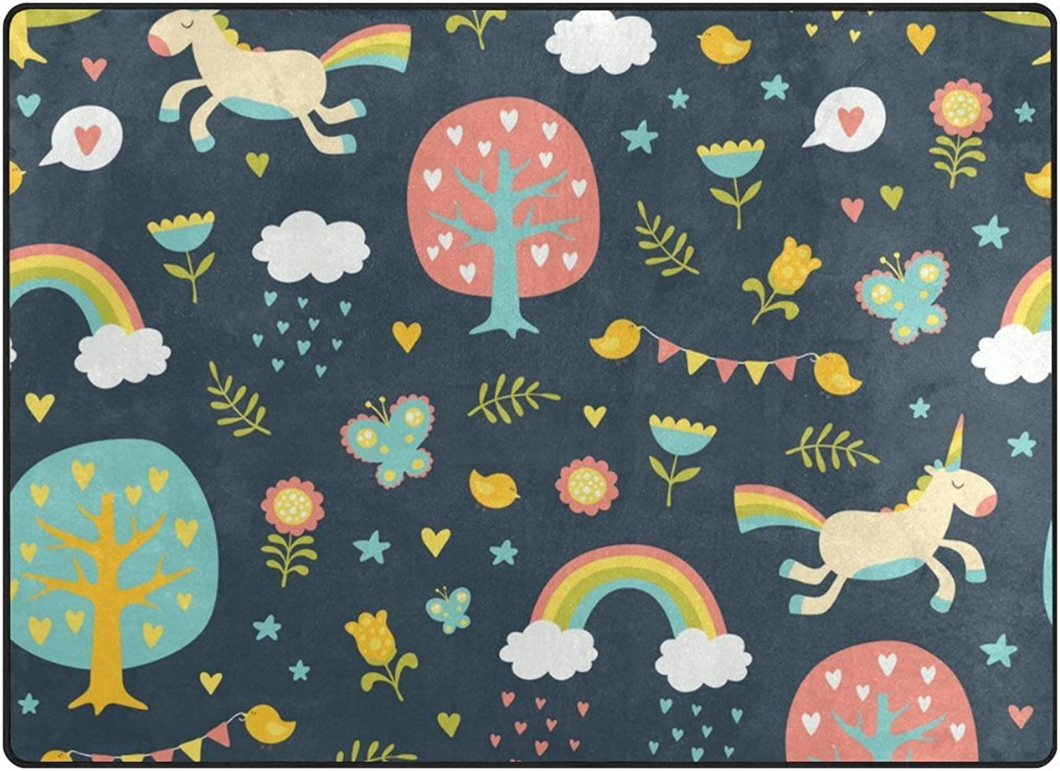 SUABO 80 x 58 inches Area Rug Non-Slip Floor Mat Cute Unicorns Printed Doormats for Living Room Bedroom
