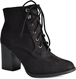 chunky high heel lace up ankle boot bootie
