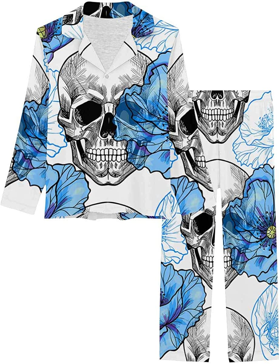 InterestPrint Women's Pajamas Set Button Down Sleepwear with Long Pants Skull and Blue Poppies