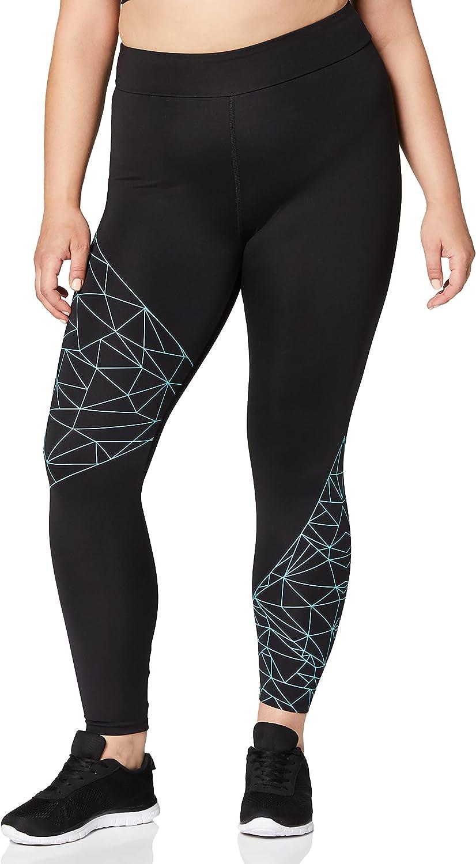 Marca Amazon - AURIQUE Leggings de Deporte con Estampado Óptico Mujer