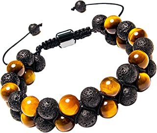 Addmluck Lava Rock Tiger Eye Turquoise Natural Stone Double Beads Handmade Adjustable Essential Oil Diffuser Bracelets for Men Women