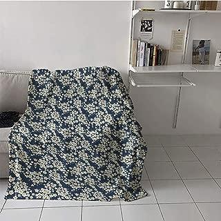 Children's Blanket Couch Print Summer Quilt Comforter (35 by 60 Inch,Flower,Little Wild Flowers in Summertime Meadow Seasonal Nature Stylized Artwork,Night Blue Cream