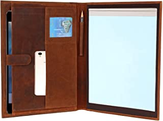 Handmade Genuine Leather Business Portfolio by Rustic Town | Professional Organizer Men & Women | Durable Leather Padfolio with Sleeves for documents and Notepad (Brown)