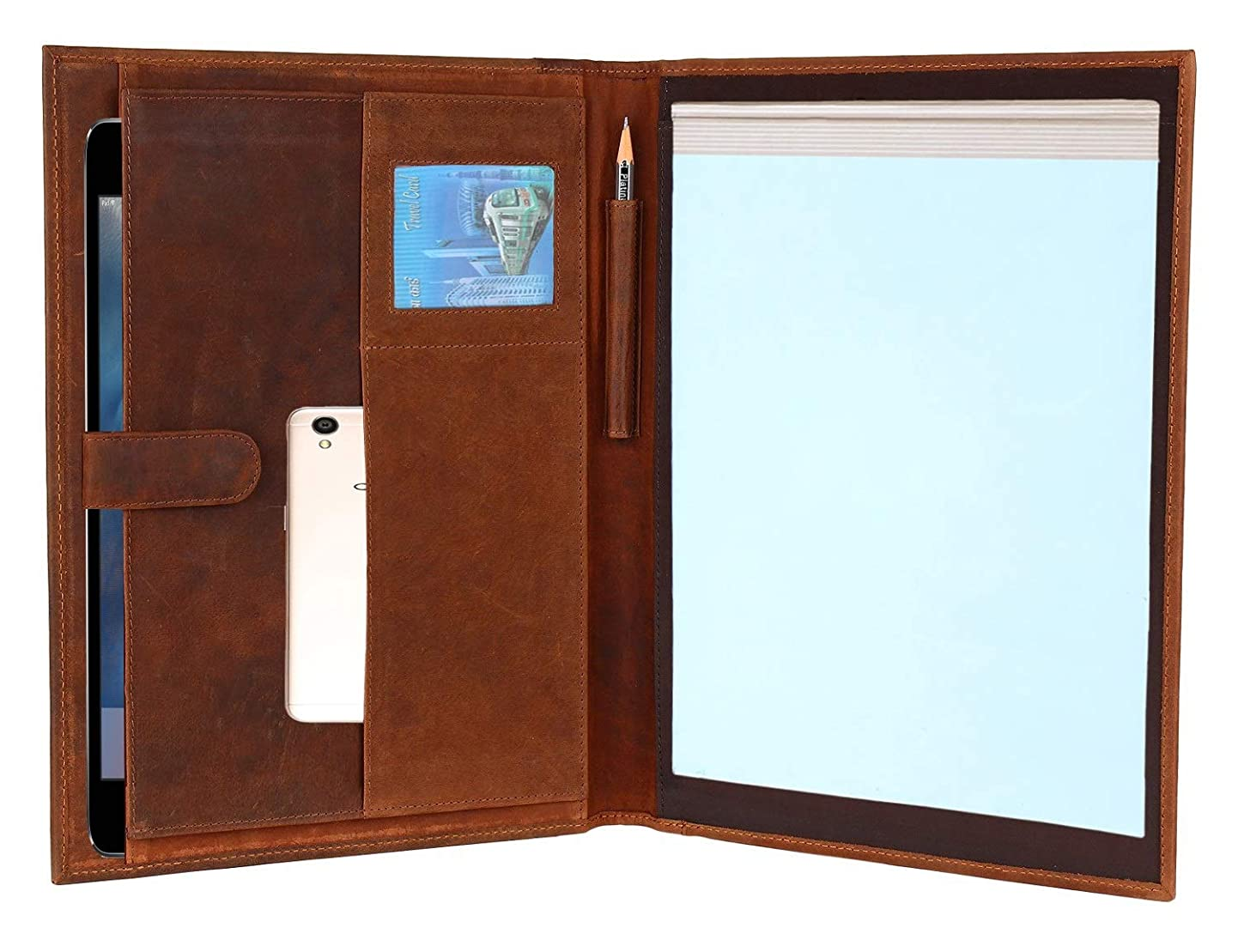 Handmade GENUINE LEATHER Business Portfolio by Rustic Town | Professional Organizer Men & Women | Durable Leather Padfolio with Sleeves for documents and notepad (Brown) nzfwbfkqldz0