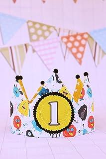Corona di compleanno di piccoli mostri Decorazione di compleanno, corona in tessuto per neonati e bambini