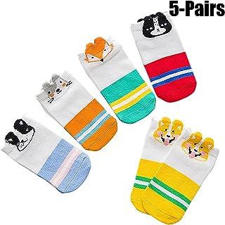 5 Pares Calcetines De Animales para Niños Calcetines Unisex De Algodón Calcetines Tobilleros Antideslizantes para Niños Pequeños