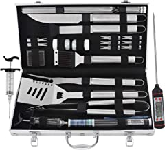 grilljoy 24PCS BBQ Grill Tools Set, Heavy Duty Stainless Steel Grilling Accessories with Thermometer and Meat Injector in Barbecue Case for Travel/Camping/Kitchen. Best BBQ Utensil Gift for Men Women