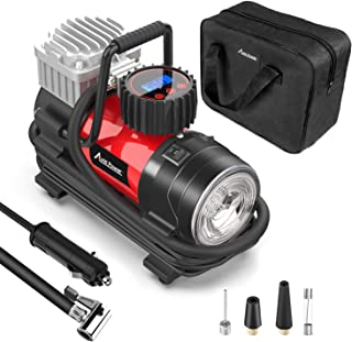 Tire Inflator Pump, Portable Air Compressor 12V 125 PSI with Digital Display Gauge, LED Flashlight, Overheat Protection, Extra Nozzle Adaptors, Avid Power (Renewed)