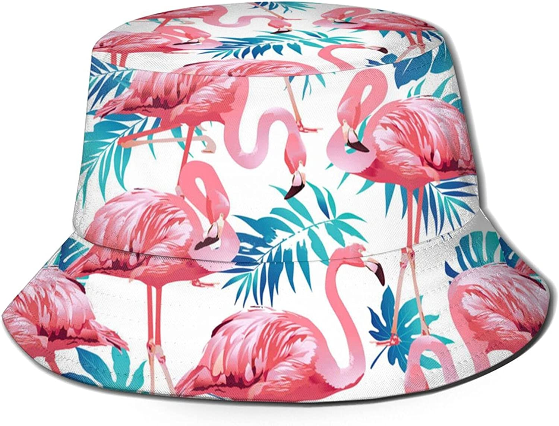Unisex Flamingo Bucket Hat Cute Unique Print Travel Bucket Hat Summer Fisherman Cap