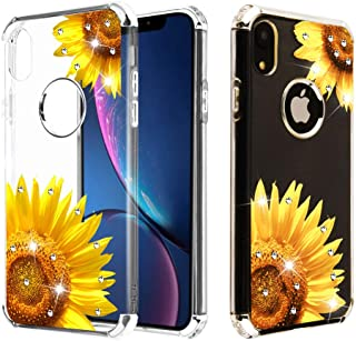 Case+Tempered_Glass+Stylus, Candy Skin Protector Cover Fits Apple iPhone XR/iPhone 9 Electroplating Silver/Sunflower Stuffed Diamante/Artificial Diamond